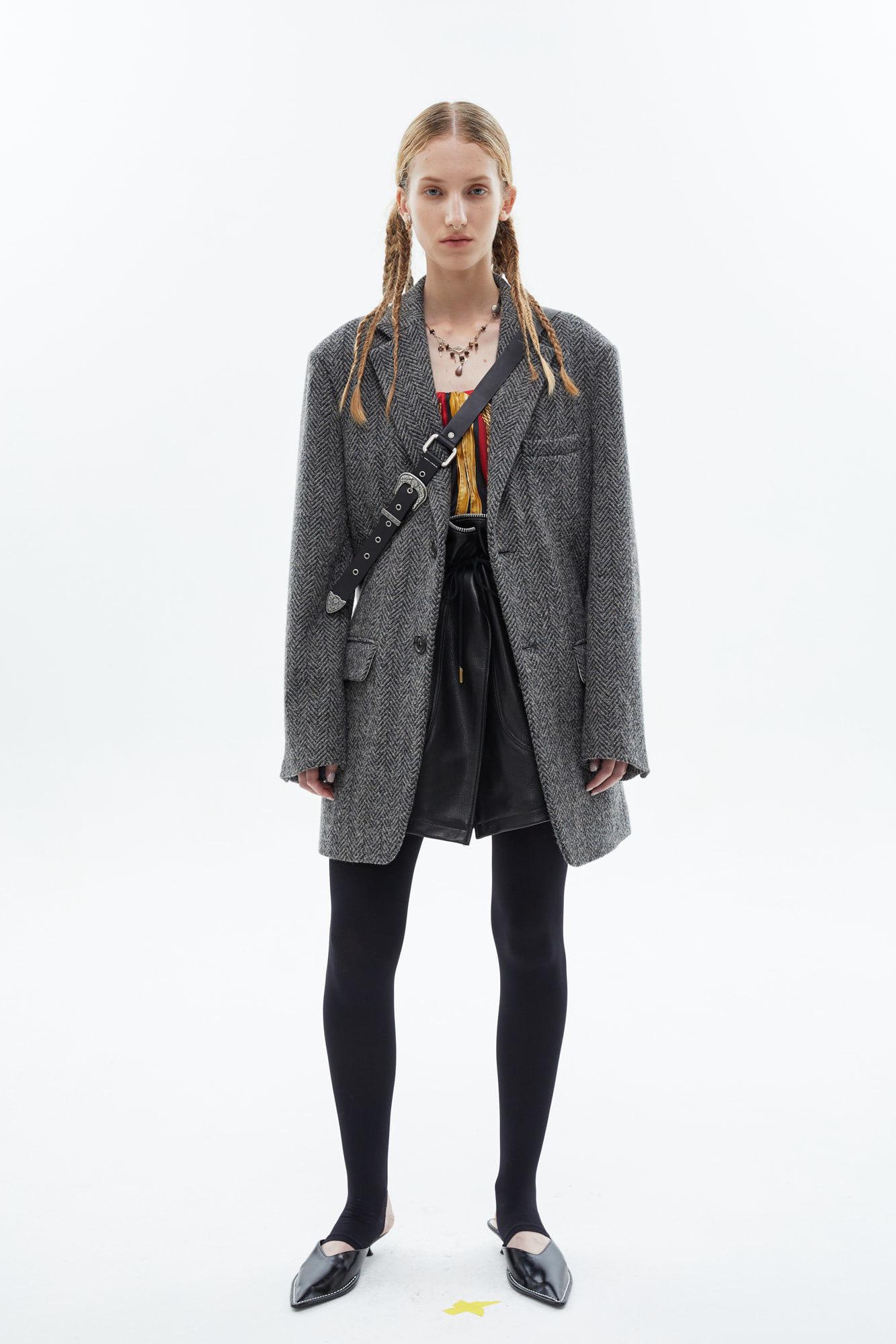 andersson bell20秋冬韩国设计师品牌灰色格纹加厚西装外套大衣