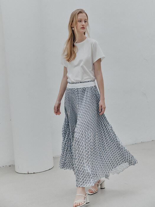 正品代购MUSEE 韩国设计师品牌 21夏 松紧腰碎花百褶裙半身裙直邮