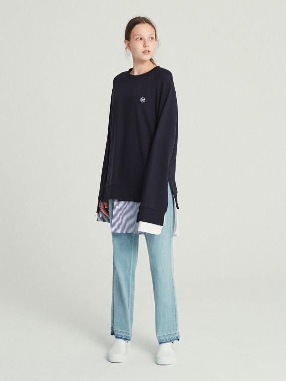 韩国设计师品牌RECTO条纹衬衫分层卫衣圆领拼接长款卫衣