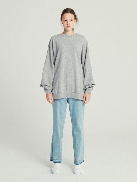 韩国设计师品牌RECTO logo刺绣开叉卫衣休闲上衣纯色