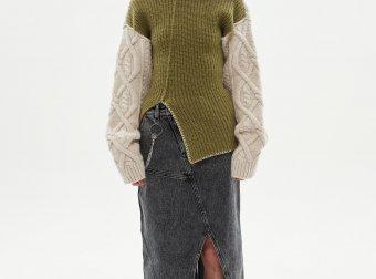 andersson bell 20秋冬韩国设计师品牌开叉牛仔过膝半身裙