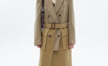 andersson bell20秋冬韩国设计师品牌拼色风衣外套大衣