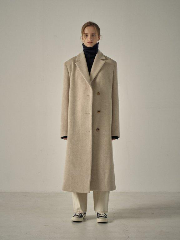 韩国设计师品牌 FP 20秋冬单扣腰带款羊绒大衣外套长款正品代购
