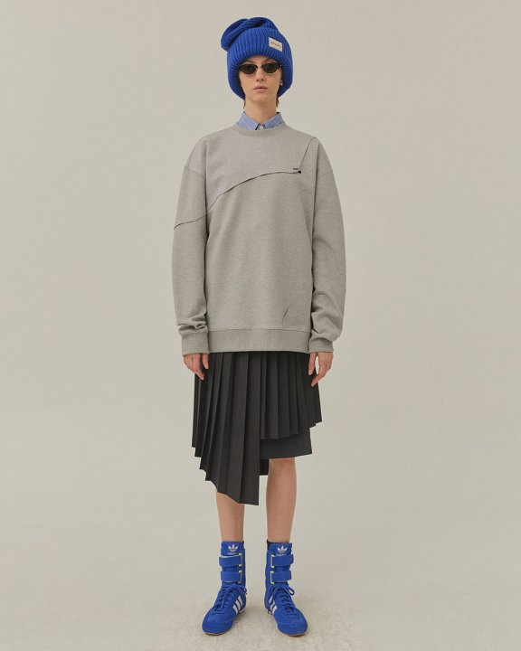 ADER ERROR2020新款Sewing crumple个性圆领拼接宽松休闲卫衣正品
