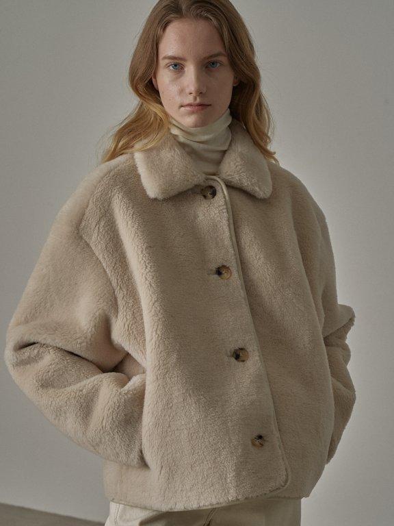 韩国设计师品牌 FP 20秋冬 羊羔毛环保皮正反两穿短款外套大衣直邮