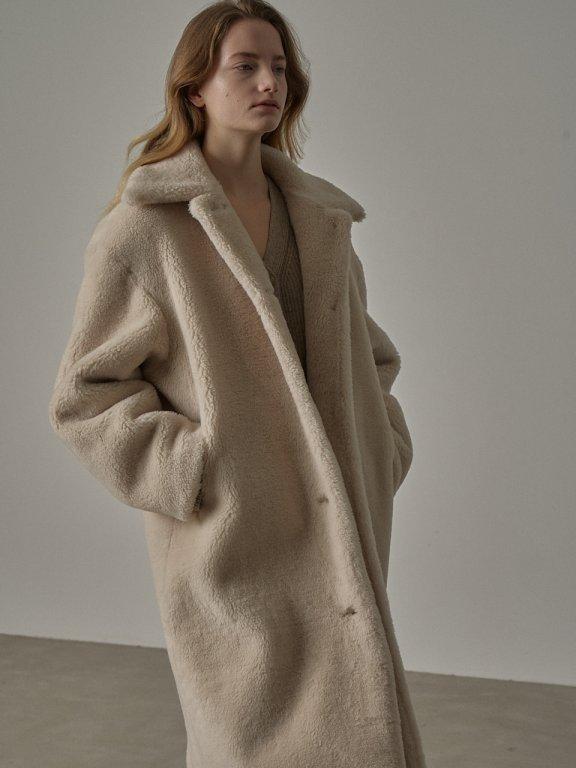 韩国设计师品牌FP 20秋冬羊羔毛双面穿毛绒加厚长款大衣外套
