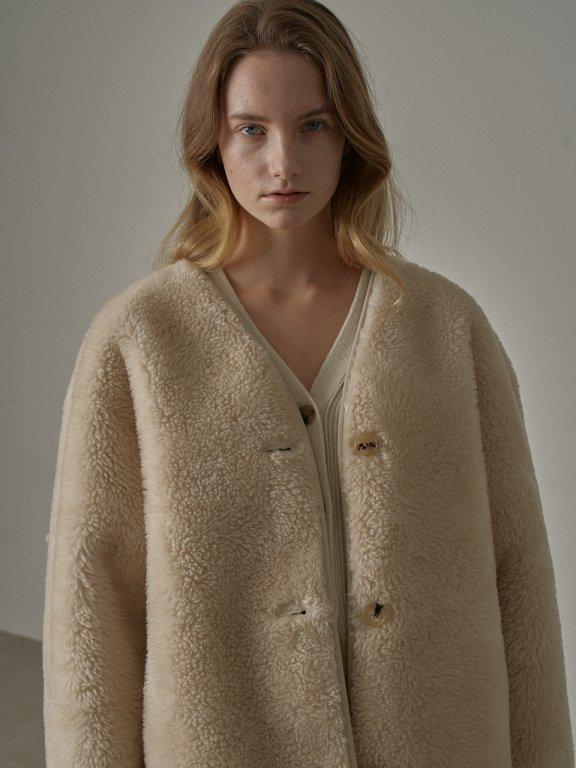 韩国设计师品牌 FP 20秋冬无领羊羔毛环保皮加厚短款大衣外套双面穿