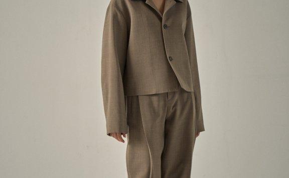 韩国设计师品牌 FP 20秋冬高腰褶皱阔腿直筒休闲裤9分裤西裤