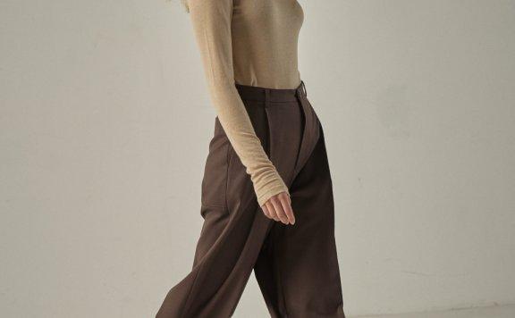韩国设计师品牌 FP 20秋冬高腰褶皱阔腿休闲西裤长裤阔腿裤正品直邮