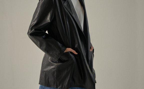 代购 FP 韩国设计师品牌秋冬复古欧美风宽松短款皮衣外套上衣西装夹克