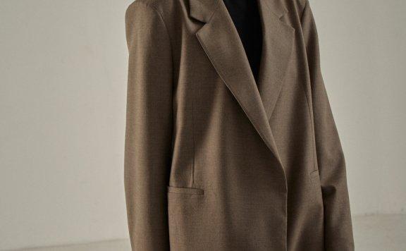 代购 FP韩国设计师品牌秋冬 宽松中长款翻领长袖羊毛西装外套上衣西服