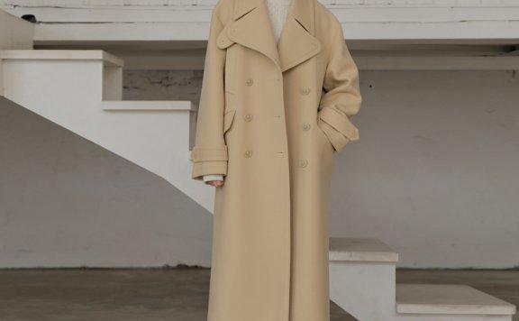 韩国代购UIJI设计师品牌纯羊毛加厚外套双排扣长款大衣正品