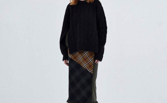 TheOpen Product韩国设计师品牌羊毛格子流苏半身裙
