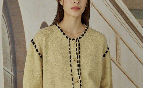 韩国代购正品TheOpen Product设计师品牌明线无领开衫短外套