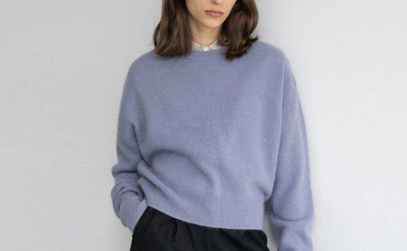 韩国设计师品牌gouache围脖款保暖毛衣针织衫两色