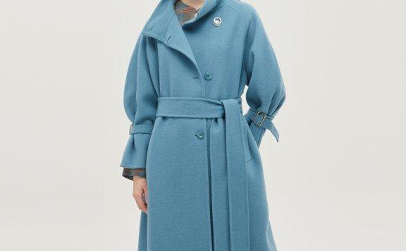 DEWL韩国设计师品牌20秋冬高领系腰中长款大衣外套