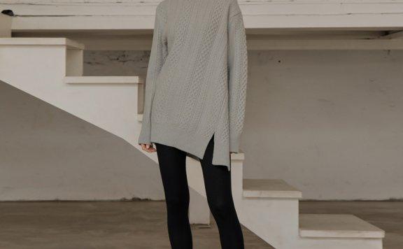 UIJI 20秋冬韩国正品代购 圆领侧开叉长袖毛衣针织套头羊绒打底衫
