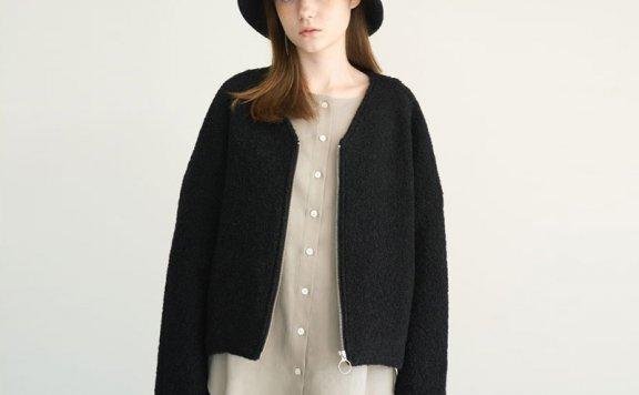 韩国代购正品设计师品牌marron edition V领拉链羊毛短款外套