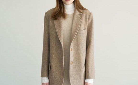 marron edition韩国设计师品牌20秋冬款单排扣羊毛西装外套两色