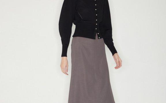 正品代购韩国设计师品牌Haekim 21SS春款法式方领修身针织开衫