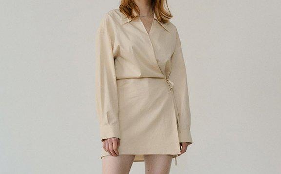 正品代购韩国设计师品牌EN OR 2021春夏法式不规则绑带长袖衬衫裙