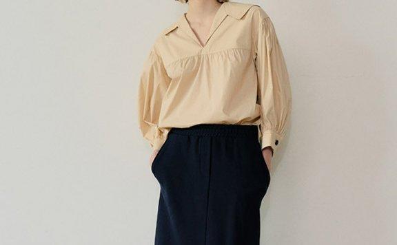 韩国设计师品牌EN OR 2021春夏款法式灯笼袖翻领抽褶衬衫上衣正品