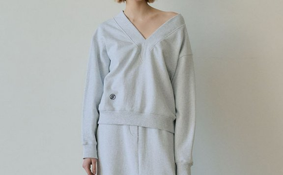 EN OR 2021春夏款韩国设计师品牌大V领露肩宽松卫衣上衣正品直邮