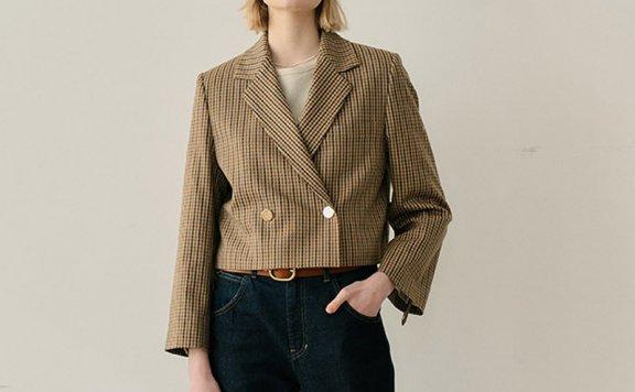 韩国设计师品牌EN OR 2021春夏款美式格纹收腰短款西装外套直邮