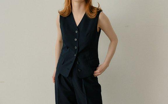 正品代购2021春夏款EN OR韩国设计师品牌V领无袖系扣马甲内搭上衣