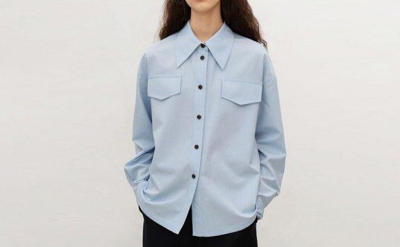 正品代购韩国设计师品牌AVA MOLLI 21春款时尚休闲翻领长袖衬衫