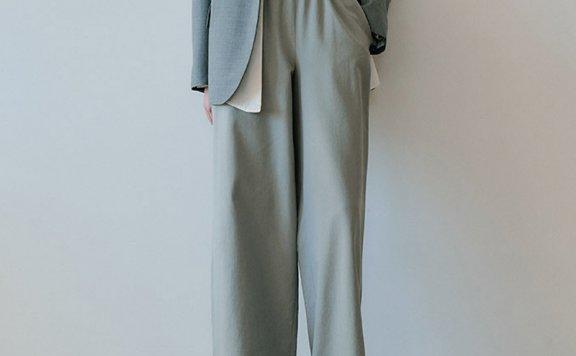 正品代购韩国设计师品牌EN OR 21春夏款松紧高腰休闲阔腿裤