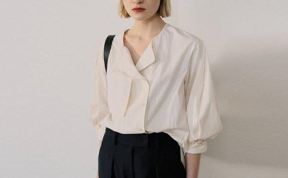 正品代购EN OR韩国设计师品牌21春夏款法式V领设计感长袖衬衫上衣
