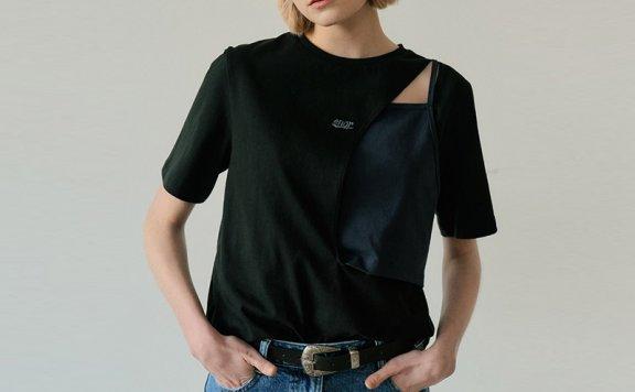 正品代购EN OR韩国设计师品牌2021春夏款圆领拼接镂空短袖T恤上衣