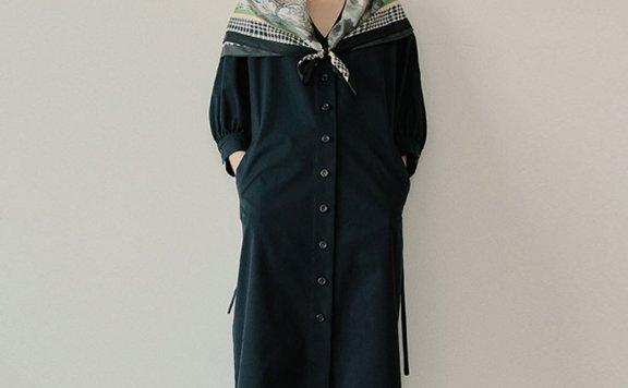 2021春夏款EN OR韩国设计师品牌法式V领两穿长款连衣裙外套直邮