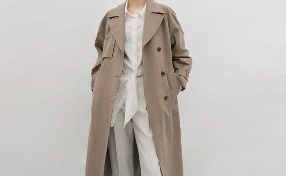 AVA MOLLI 21春款韩国设计师品牌经典款单排扣翻领休闲风衣正品
