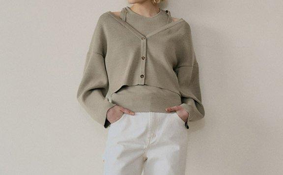 正品代购韩国设计师品牌EN OR 21春夏款露肩针织两件套上衣开衫