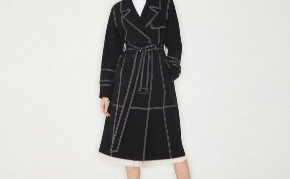 Haekim韩国设计师品牌21SS春款明线勾勒双排扣风衣外套正品
