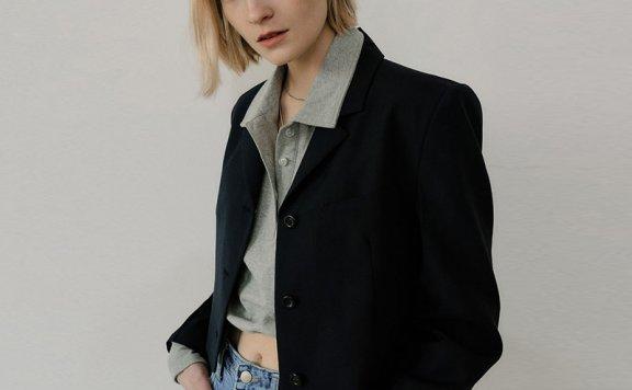 正品EN OR 2021春夏款韩国设计师品牌翻领系扣长袖短款西装外套