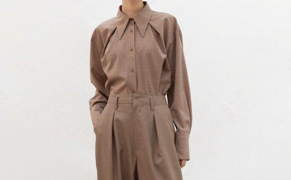 正品代购AVA MOLLI韩国设计师品牌21春款宽松翻领系扣长袖衬衫