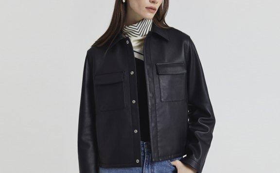 Dunst小羊皮外套2021新款直筒短款皮衣夹克外套男女同款黑色正品