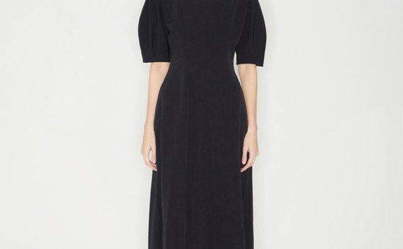Haekim韩国设计师品牌21SS春款优雅镂空领收腰泡泡短袖天丝连衣裙