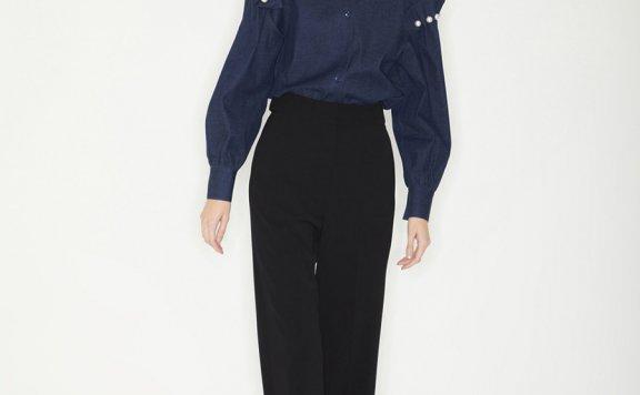韩国设计师品牌Haekim 21SS春款优雅珍珠压褶袖花边长袖衬衫正品