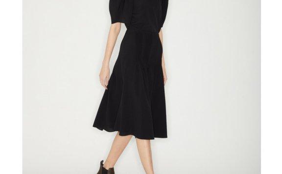 正品代购韩国设计师品牌Haekim 21SS春款纯色高腰细褶长款半身裙