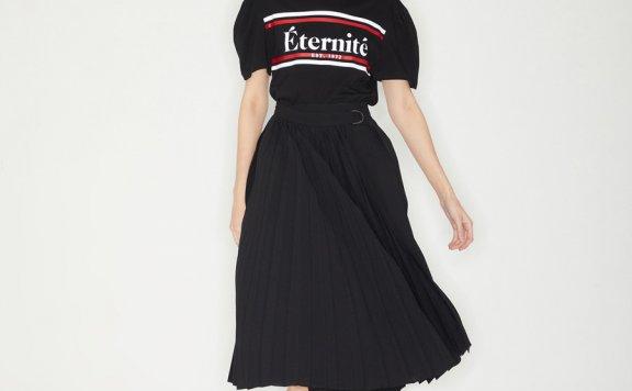 正品代购21春夏款Haekim韩国设计师品牌褶皱绑带半身裙