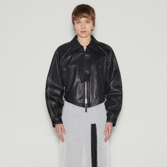 正品代购andersson bell韩国设计师品牌2021春款文理皮革短款机车夹克