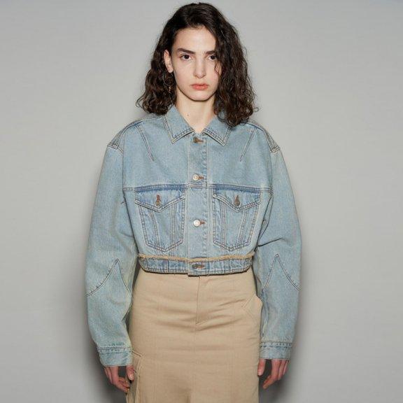 andersson bell韩国设计师品牌2021春款单排扣纯棉水洗牛仔夹克