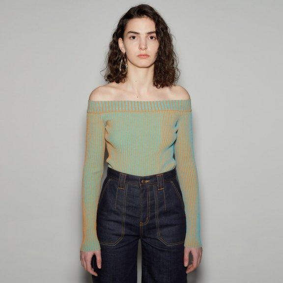 andersson bell韩国设计师品牌2021春款脱肩长袖针织上衣正品直邮