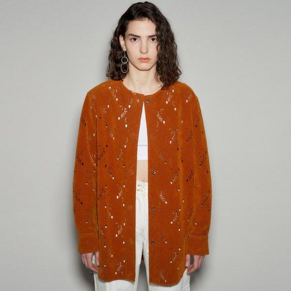 韩国设计师品牌andersson bell 2021春款镂空设计圆领长袖针织衫