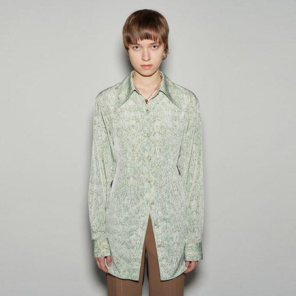 正品andersson bell韩国设计师品牌2021春款尖领收腰中长款衬衫