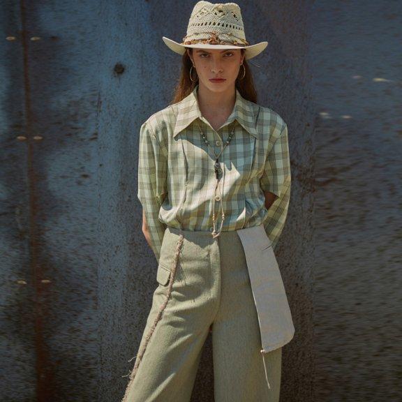 正品andersson bell韩国设计师品牌2021春款不规则长袖格子衬衫